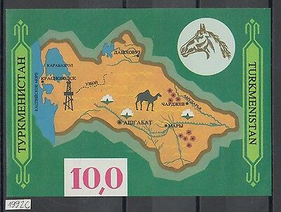 XG-AI684 TURKMENISTAN - Maps, 1992 Horses, Tourism, Industry, Imperf. MNH Sheet