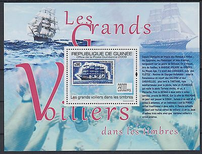 XG-AF107 GUINEA - Ships, 2009 Stamp On Stamp, Sailing, 1 Value MNH Sheet