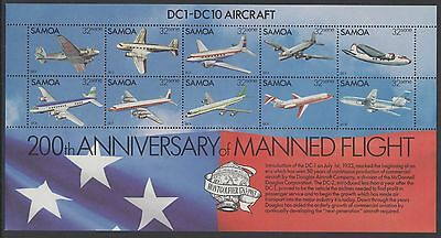 XG-AE804 SAMOA I SISIFO - Aviation, 1983 200Th Anniv. Of Manned Flight MNH Sheet