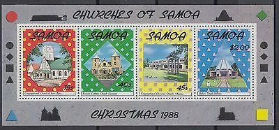 XG-AE817 SAMOA I SISIFO - Christmas, 1988 Churches MNH Sheet