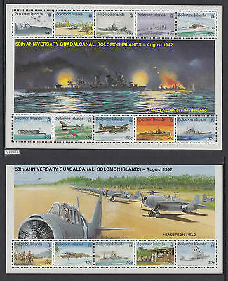 XG-AI793 SOLOMON ISLANDS IND - Wwii, 1992 Ships, Army, Guadalcanal 2 Sheets MNH