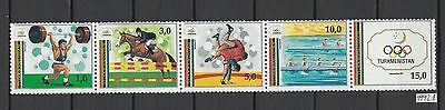 XG-AI722 TURKMENISTAN - Olympic Games, 1992 Barcelona '92 Strip MNH Set