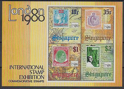 XG-AE705 SINGAPORE IND - Stamp On Stamp, 1980 London Stamp Exhibition MNH Sheet