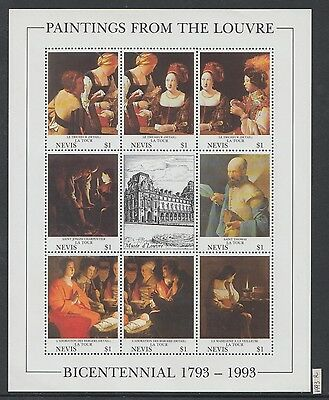 XG-AI172 NEVIS IND - Paintings, 1993 From The Louvre, La Tour MNH Sheet