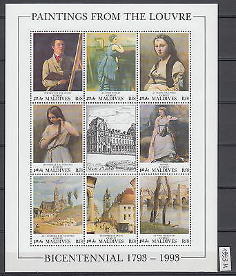 XG-AI724 MALDIVES IND - Paintings, 1993 From The Louvre, Bicentennial MNH Sheet