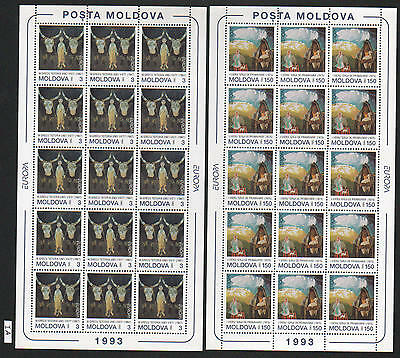XG-AH144 MOLDOVA - Europa Cept, 1993 Paintings, Contemporary Art, 2 Sheets MNH