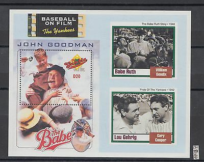 XG-AI219 GAMBIA IND - Baseball, 1993 On Film, Cinema, The Yankees MNH Sheet