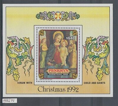 XG-AH962 PENRHYN IND - Paintings, 1992 Christmas, Virgin And Child MNH Sheet
