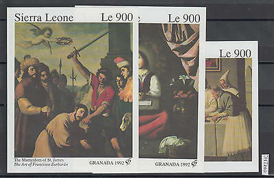 XG-AI012 SIERRA LEONE IND - Paintings, 1992 Spanish Painter 3 Imperf. Sheets MNH