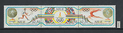 XG-AI814 NIUE IND - Olympic Games, 1992 Spain Barcelona, 3 Values Strip MNH Set
