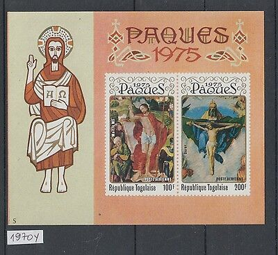 XG-AJ582 TOGO IND - Paintings, 1970 Easter, Imperf. MNH Sheet