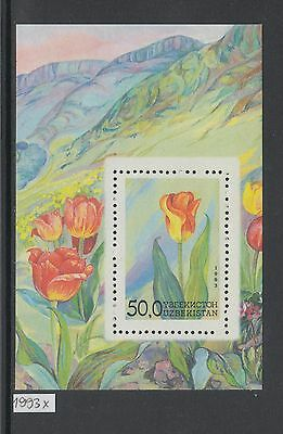 XG-AJ592 UZBEKISTAN - Flowers, 1993 Flora, Nature, Mountains MNH Sheet