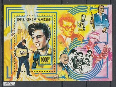 XG-AJ273 CENTRAL AFRICAN - Music, 1993 Elvis Presley, Louis Armstrong MNH Sheet