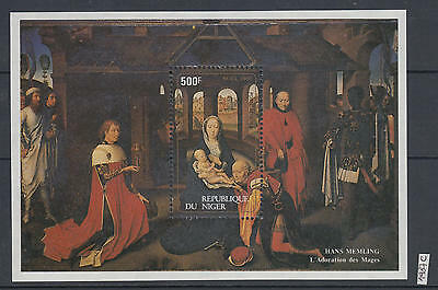 XG-AI113 NIGER IND - Paintings, 1987 Christmas, Memling, Madonna MNH Sheet
