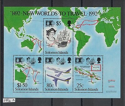 XG-AK509 SOLOMON ISLANDS IND - Aviation, 1992 Maps, Columbus New World MNH Sheet