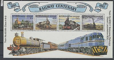 XG-AH929 BOTSWANA - Trains, 1993 Railways Centenary MNH Sheet