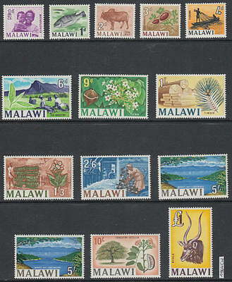 XG-AK605 MALAWI - Definitives, 1964 Ships, Fish, 15 Values MNH Set