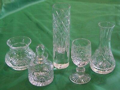 5 cut glass crystal objects - glass, vases, scent bottle