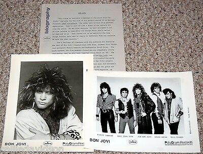 BON JOVI 1985 7800 Degrees Farenheit 3pc Photo Press Kit Lot Jon Ritchie Sambora