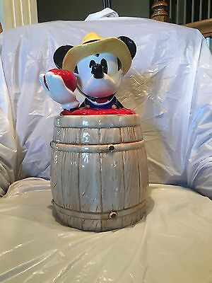 Vintage Disney Mickey Mouse treasure craft homegrown tomatoes barrel cookie jar