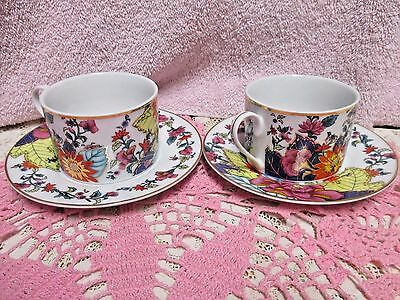 Imperial Leaf China Tobacco Cup and Saucer Sets  2 Sets  Pristine