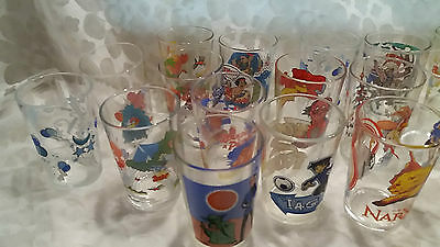 Grand lot (24) verres à moutarde collection (Titeuf-Spirou-Astérix-Goldorak...)