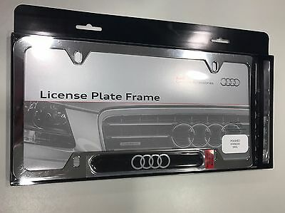 Zaw071801Hz10 Audi License Plate Frame Polished Stainless Steel New Oem