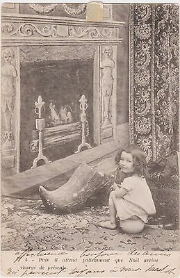 Rare Posted Undivided Back Girl Waiting By Christmas Shoe  Norway Postcard - Fun