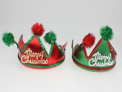 24 x Christmas Crown Headbands With Pom Poms 2 designs  wholesale bulk