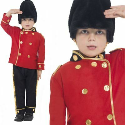 Boys Busby Guard Royal Soldier London Book Week Fancy Dress Costume Child Outfit