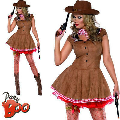 Wild West Fever Cowgirl Ladies Fancy Dress Rodeo Western Womens Adult Costume
