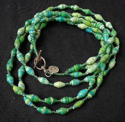 Vintage Artisan Necklace by Bead For Life Made in Uganda Minty Green Beads