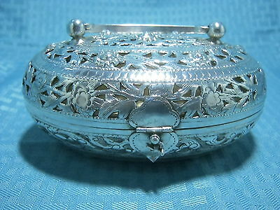 Vintage Chinese Export Silver Plated Cricket Box Marked