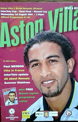 Aston Villa V Stade Rennais 1/8/2001 Uefa Intertoto Cup Semi Final