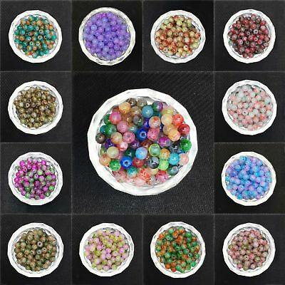 4/6/8/10MM Double Color Czech Glass Loose Round Beads Jewelry Making Charms