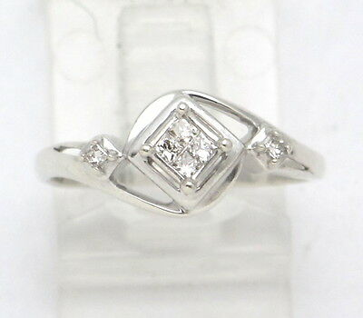 Sterling Silver Princess Cut Diamond Right Hand Ring .16ct