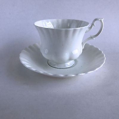 Royal Albert Reverie Coffee Tea Footed Cup and Saucer White Fluted