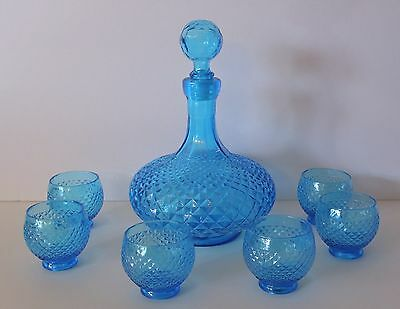 Vintage Italian Glass Decanter with 6 glasses Ice Blue