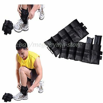 Pair of 20 lb Adjustable Ankle Weights Wrist Arm Leg Running Exercises Shape NEW