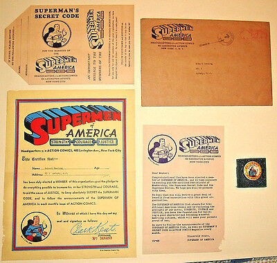 1948 Vintage SUPERMEN OF AMERICA CLUB KIT w/Certificate,Letter,Pinback,Decoder