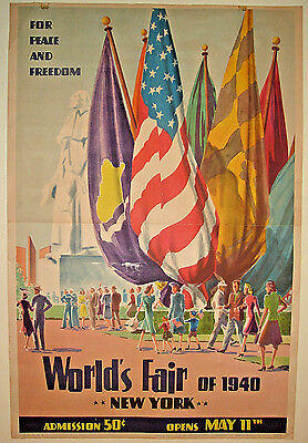 """Orig./Vtg 1940 New York World's Fair """"Peace and Freedom"""" POSTER,Polygraphic 1939"""