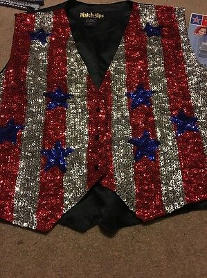 Blue w// Red /& White Stars Halloween JC Sequin Vest Patriotic 4th of July