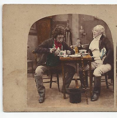 Stereo Stereoview Genre Two Gentlemen eating Soup ca.1860