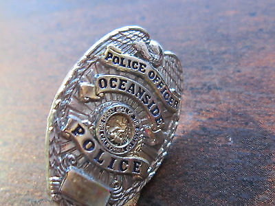 """OCEANSIDE CA GOLD Tone 1"""" Mini Police Officer Badge PIN Tie Tac 1"""""""