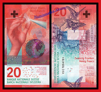 SUIZA SWITZERLAND SUISSE 20 Francs franchi 2015 (2017) Hybrid Pick NEW SC /  UNC
