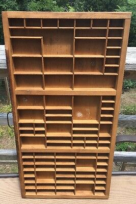 Vtg Printers Wooden Drawer Letterpress Type Case Wood Tray Hamilton 81 Sections