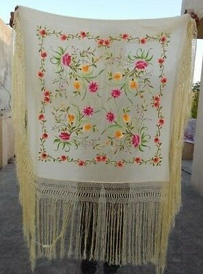 Antique Beautiful Chinese Hand Embroidered Silk Piano Shawl Multi Color Ps141