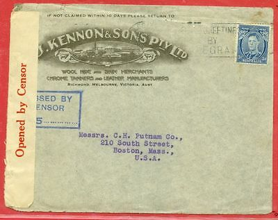 Australia KGVI 3d Blue Solo used on KENNON & SONS Advertising cover Censor to US