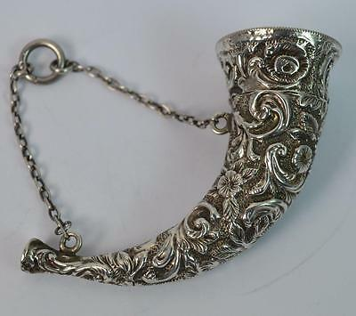 Rare Victorian Solid Silver Horn Shaped Scent Bottle with Floral Relief