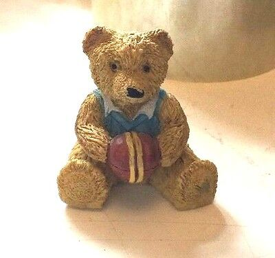 Small Teddy cricketer Ornament With A Ball